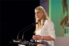 Event host, Sharron Davies MBE addresses guests